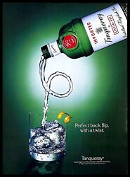 1993 Tanqueray English Gin Vintage Print Ad Green Bottle Glass Ice Cubes Twist