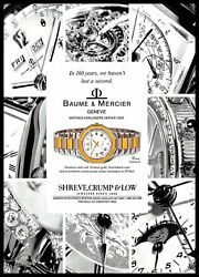 1993 Baume And Mercier Watches Vintage Print Ad Swiss Stainless Steel Gold 1990s