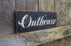 Outhouse Bathroom Decor, Country, Rustic, Primitive, Hand-painted, Wood Sign