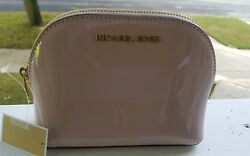 New Michael Kors Jet set travel pouch make up case cosmetic bag leather BLOSSOM