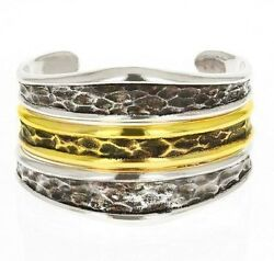 King Baby Studio Hammered Stacked Shield Cuff K40-6508