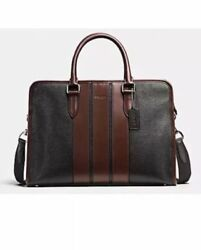 NEW Coach Men's F72308 Black Pebbled Leather Crossbody Briefcase Bag $598 NWT