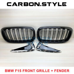 Gloss Black Front Grille + M Type Marker Chrome Side Fender Bmw F15 X5