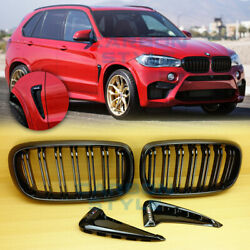Bmw F15 X5 Gloss Black M Type Front Grille + Gloss Black Marker Fender