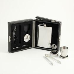 Mini-bar Cocktail Travel Kit - 7 Piece Bar Set With Leather Case