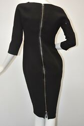 2690 New Victoria Beckham Collection Fitted Doub Crepe Black Dress Us 10 Uk 14