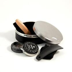 Stainless Steel Shoe Shine Set with Black Leather Case