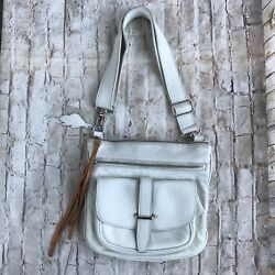 ROOTS White Leather Zipper Tote Cross-body Messenger Small Purse Bag CANADA