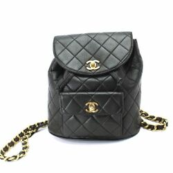 Auth CHANEL Matelasse Chain Back Pack Leather Black Vintage Purse 90053097