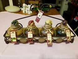 Set Of 4 With Rack Shonfeldand039s Glass Spice Dried Herbs Jam Jars With Cork Tops