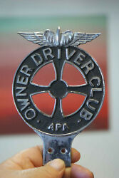 Winged Emblem on Top, Iron Cross in Center!! Tag Topper, Owner Driver Club, APA