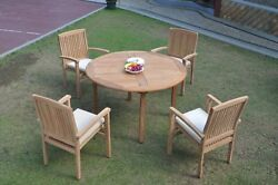 Dswv A-grade Teak 5pc Dining Set 52 Round Table 4 Stacking Arm Chair Outdoor