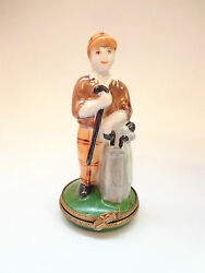 Limoges Trinket Box Paint Maine Signed Golfer With Bag Collectible Brand New