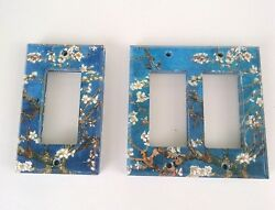 Set of 17 Metal Light Switch Plate Cover Van Gogh Art Almond Blossoms Tree Blue