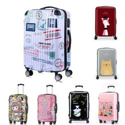 20 24 Inch Colorful Design Luggage Cute Print Travel Suitcase Women Rolling Bag