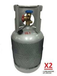 2 X 10kg Empty Reclaim Recovery Cylinder Bottle Gas Tank + 1/4 And 5/16 Adaptors