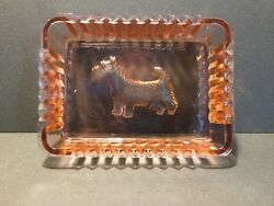 VINTAGE PINK DEPRESSION GLASS SCOTTY SCOTTIE TERRIER DOG PIN  CANDY DISH