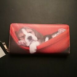 Basset Hound Puppy Dog Faux Leather Zip Around Wallet With Cell Phone Pocket