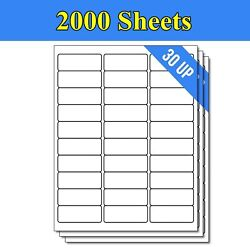 60000 Label 2000 Sheets 1 X 2 5/8 Shipping Adhesive Labels 2.625 X 1 30 Up