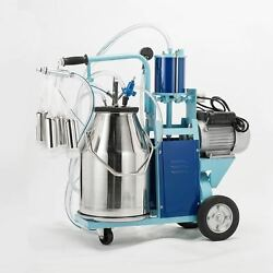 25l Electric Milker Milking Machine For Goats Cows W/bucket 2 Plug 12cows/hour.