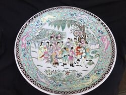 Old Chinese Qing Dynasty Court Life Horses Dragons Fine Porcelain Plate 16