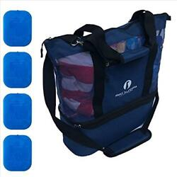 Improved Luggage Mesh Beach Bag With Leak-proof Rigid Cooler (Blue)
