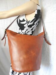COACH F32282 Bleeker Bucket Large Brown Leather Bag Hobo Gorgeous!