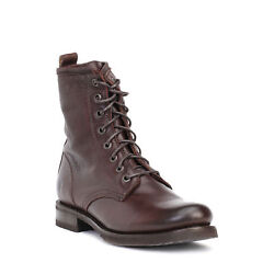 Frye Veronica Womenand039s Dark Brown Combat Leather Boots Us Size 8 And 8.5