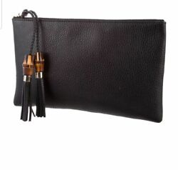 Gucci Original Bamboo Black Clutch Pouch Zip Around Leather Italy NEW