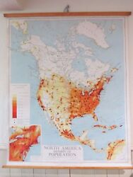 Vintage Pull Roll Down School Wall Map Of North America Population Density Usa