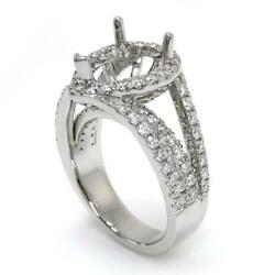Halo Engagement Ring Setting For A Pear Cut With 1.50 Ct Diamond Accents 14k