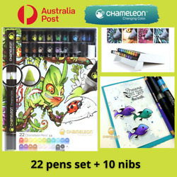 CHAMELEON Pens Markers 22 Pens Deluxe Blendable Alcohol Marker FREE Nibs