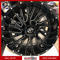 20x10 Xf-221 Offroad On 33/12.50r20 Black/milled Wheels With M/t Tires