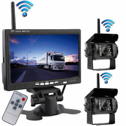 Wireless Dual Backup Camera 7 Monitor Parking Rear View System For Rv Truck Bus