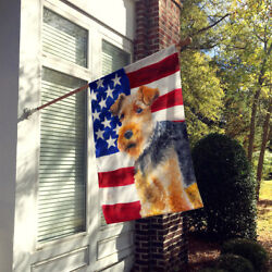 Carolines Treasures  BB9700CHF Welsh Terrier Patriotic Flag Canvas House Size