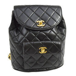 Auth CHANEL Quilted CC Chain Drawstring Backpack Bag Black Leather VTG V12800