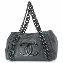Auth CHANEL Luxury Line Plastic Chain Tote Bag Leather Black Purse 90056383