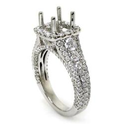 Halo Cathedral Engagement Ring Setting For Cushion Cut With 1.52 Diamond Accents
