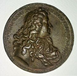 Commemorative Medal Of Luis Xiv. Copper Chiseled. France. 18th Century Principle