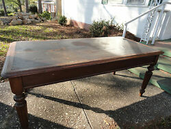 Antique Victorian Walnut Original Leather Top And Finish Table 6and039x3and039