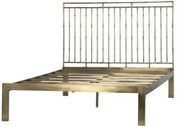 83 Anastasia Bed Queen Iron Antique Brass Finish Slatted Headboard Smooth
