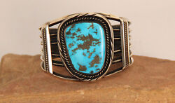 Navajo Silver And Morenci Turquoise Cuff Bracelet C.1960 5 1/4 + 1 1/2 Gap