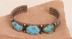 Navajo Silver And Turquoise Cuff Bracelet 5 + 1 Gap = Up To 6 Wrist C.1950s