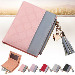 Women Ladies Leather Wallet Bifold Short Zipper Design Small Coin Card Clutches GBP 4.66