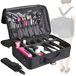 Makeup Train Case 3 Layer Makeup Organizer Bag with Shoulder Strap Adjustable