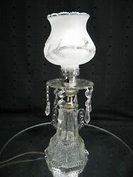 Vintage Pressed Glass Art Deco Table Lamp W/frosted Glass Shade/crystal Prisms