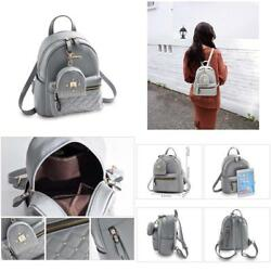 Cute Small Backpack Mini Purse Casual Daypacks Leather For Teen GirlsWomen Gray