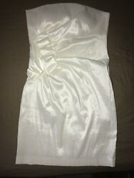 Romeo And Juliet Couture Evening White Sexy Strapless Cocktail Mini Dress Large $24.99