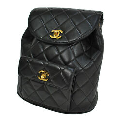 Auth CHANEL Quilted CC Chain Backpack Bag Black Leather Vintage France JZ00634