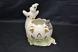 Lenox Halloween Occasions Ghost With Pumpkin And Cat Votive